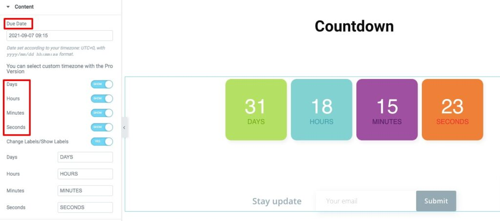 countdown with Elementor